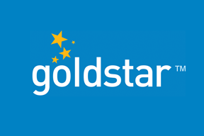 Goldstar logo white on blue small