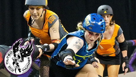 Tilted Thunder Rail Birds: All-Female, Banked Track Roller Derby $7.50 ($15 value)