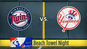 Mlb twins yanks beachtowel