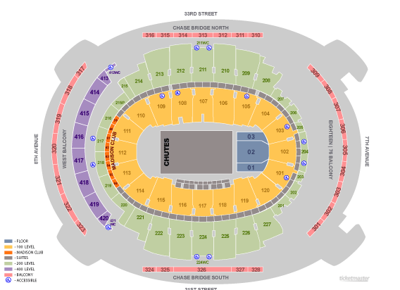 Madison square garden new york tickets schedule seating charts