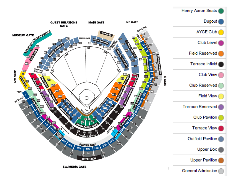 Turner field atlanta tickets schedule seating charts goldstar