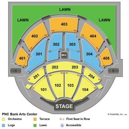 Pnc bank arts center newark tickets schedule seating charts