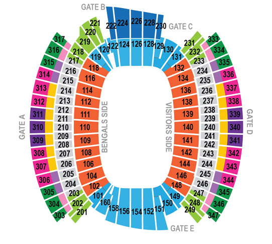 Paul brown stadium cincinnati tickets schedule seating charts