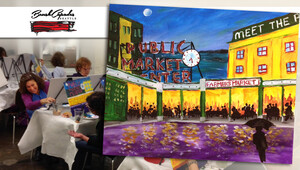 BrushCapades Seattle: Pike Place Wine and Paint Party