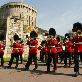 The Band of the Royal Marines and the Pipes and Drums of the Scots Guards