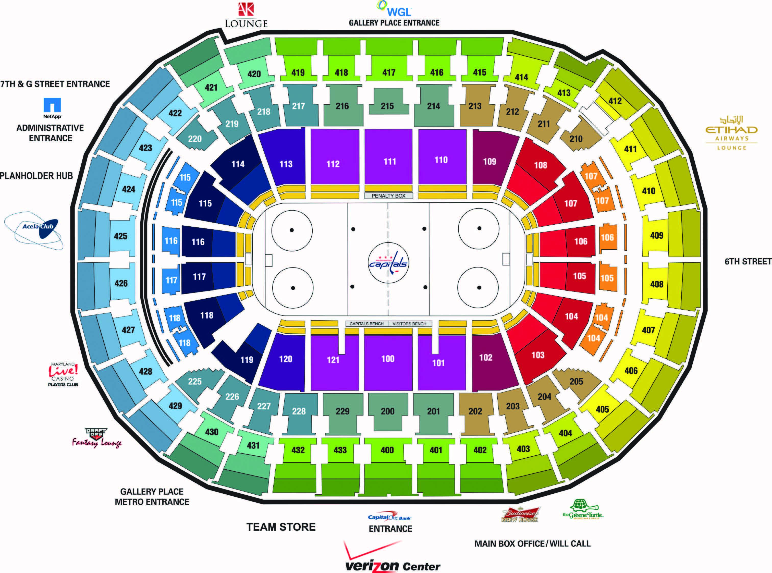 Washington Capitals Seating verizon center