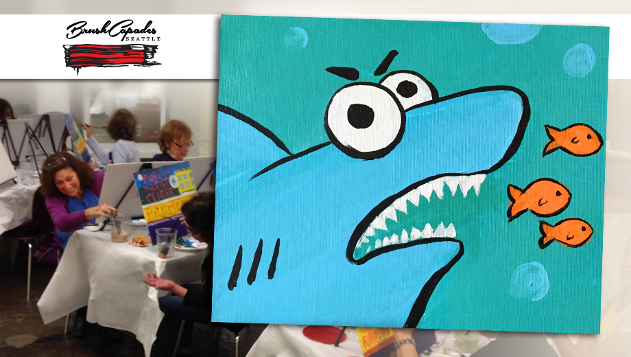 Create Your Very Own Shark Painting: Fun Wine & Paint Party $22.50 ($45 value)