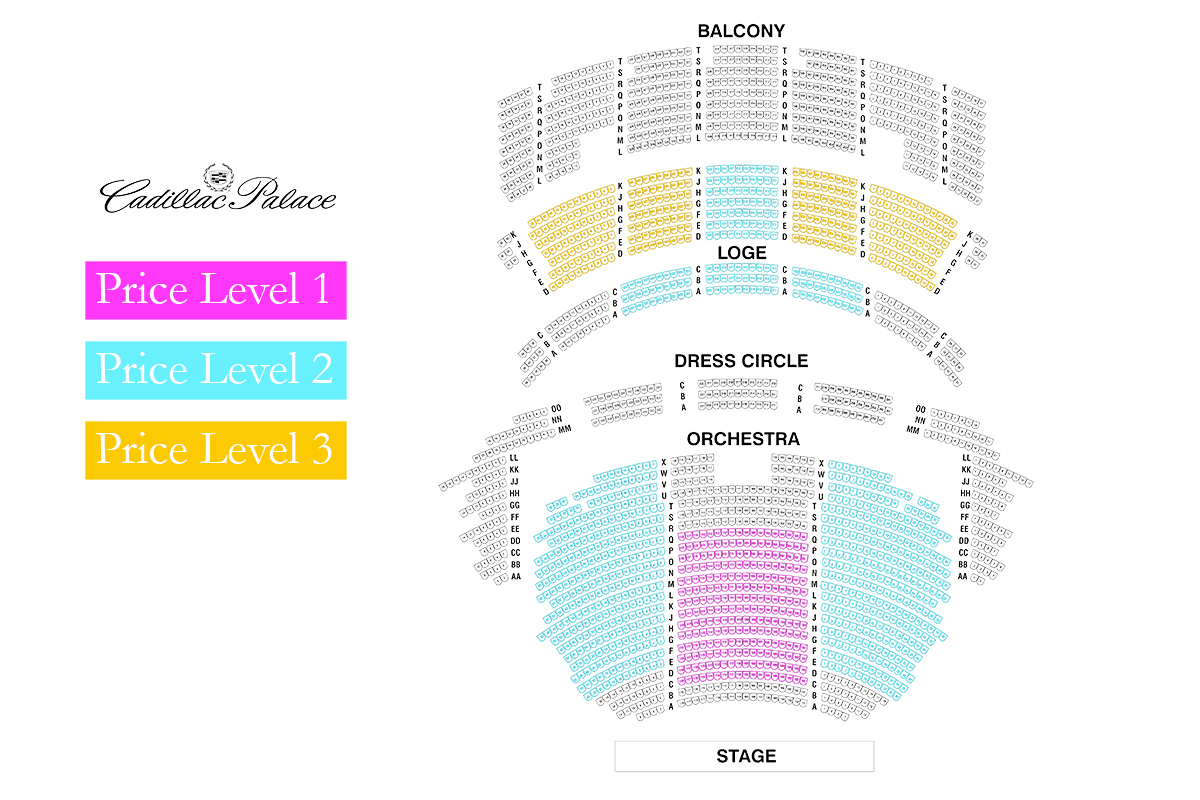 Cadillac palace theatre chicago tickets schedule seating charts