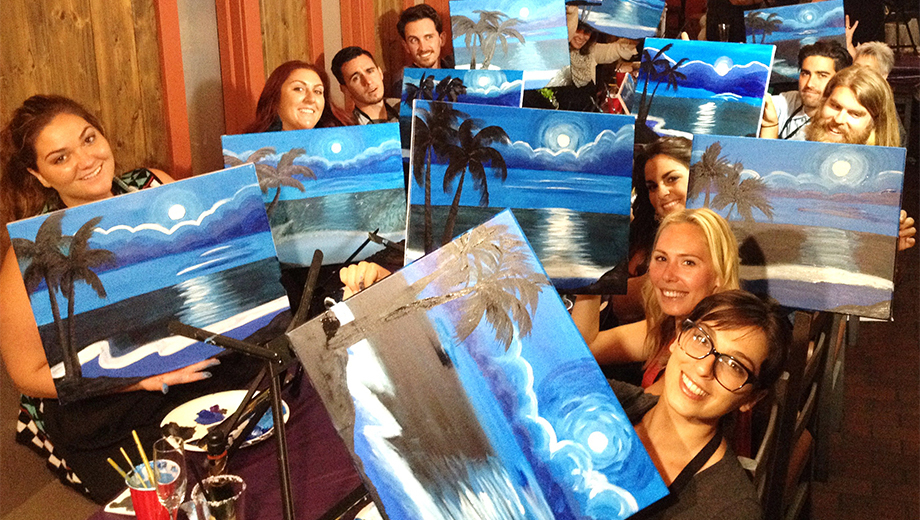 Enjoy Wine, Food and Art in Social Painting Class $23.00 ($55 value)