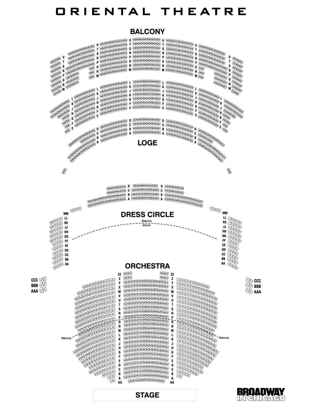 Oriental theatre chicago tickets schedule seating charts