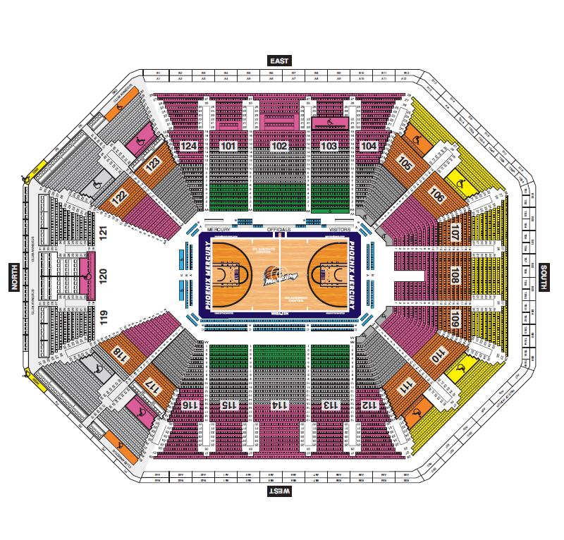 Talking Stick Resort Arena Phoenix Tickets Schedule Seating - Us airways arena seat map