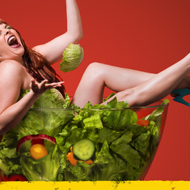 Women Laughing Alone With Salad