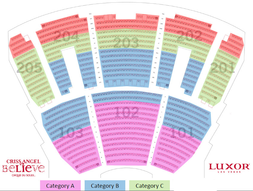criss angel las vegas seating chart: Luxor hotel and casino criss angel mindfreak las vegas tickets