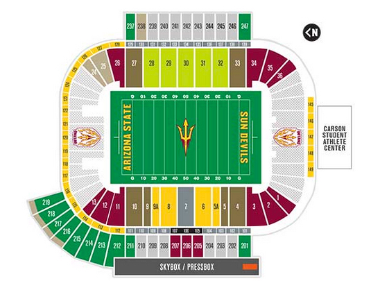 Sun devil stadium phoenix tickets schedule seating charts goldstar