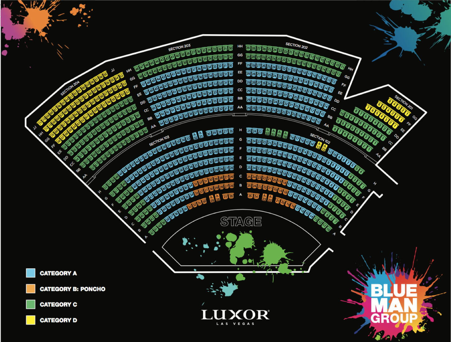 criss angel las vegas seating chart: Luxor seating chart blue man luxor seating chart blue man luxor