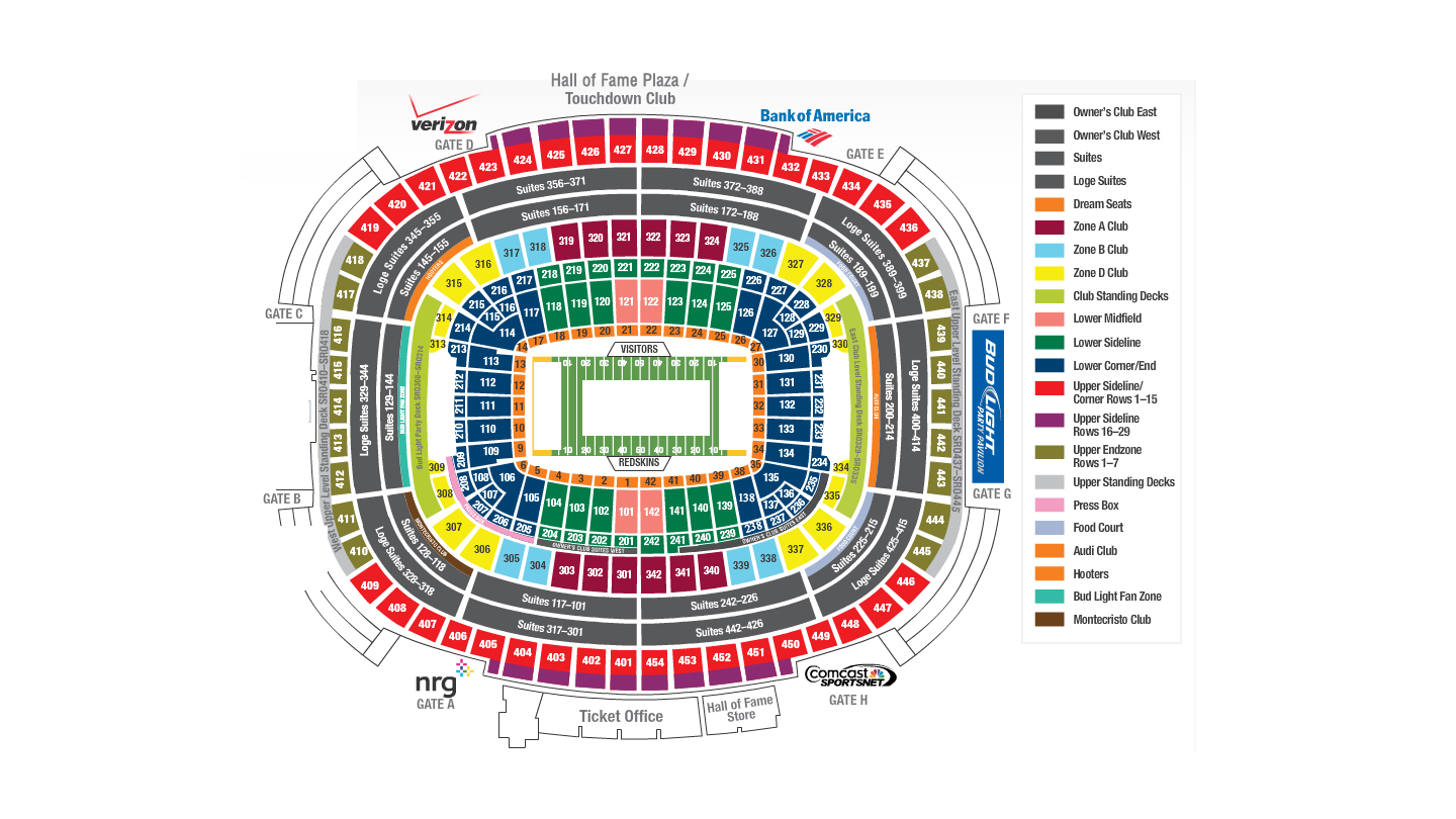Fedexfield washington d c tickets schedule seating charts