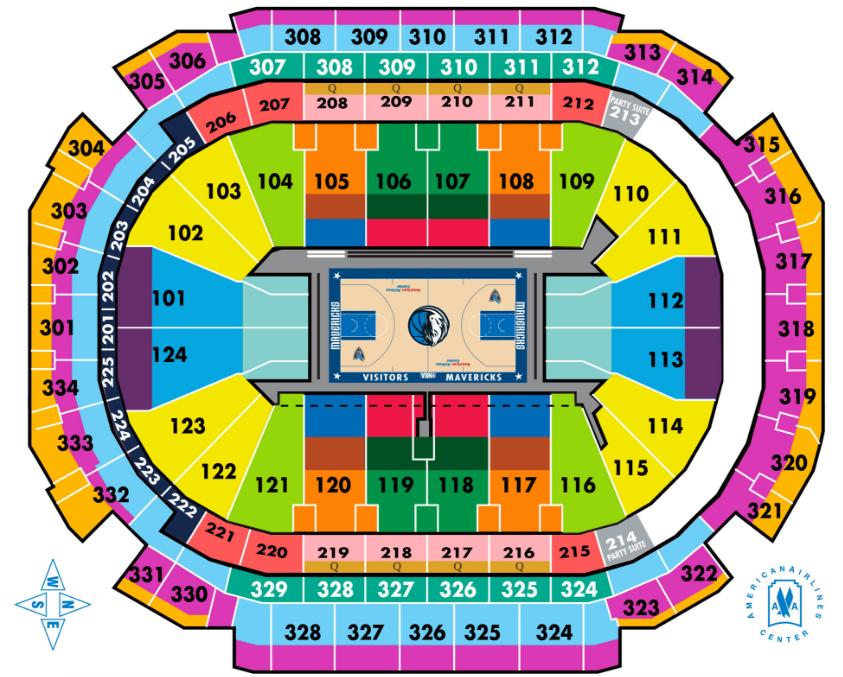 Mavericks seating chart elcho table