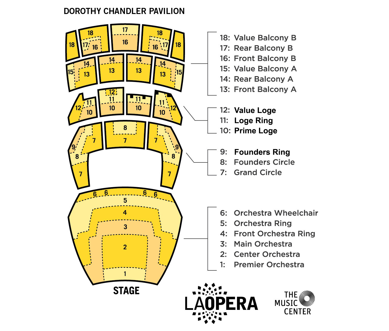 LA Opera Sectioned Seating Chart