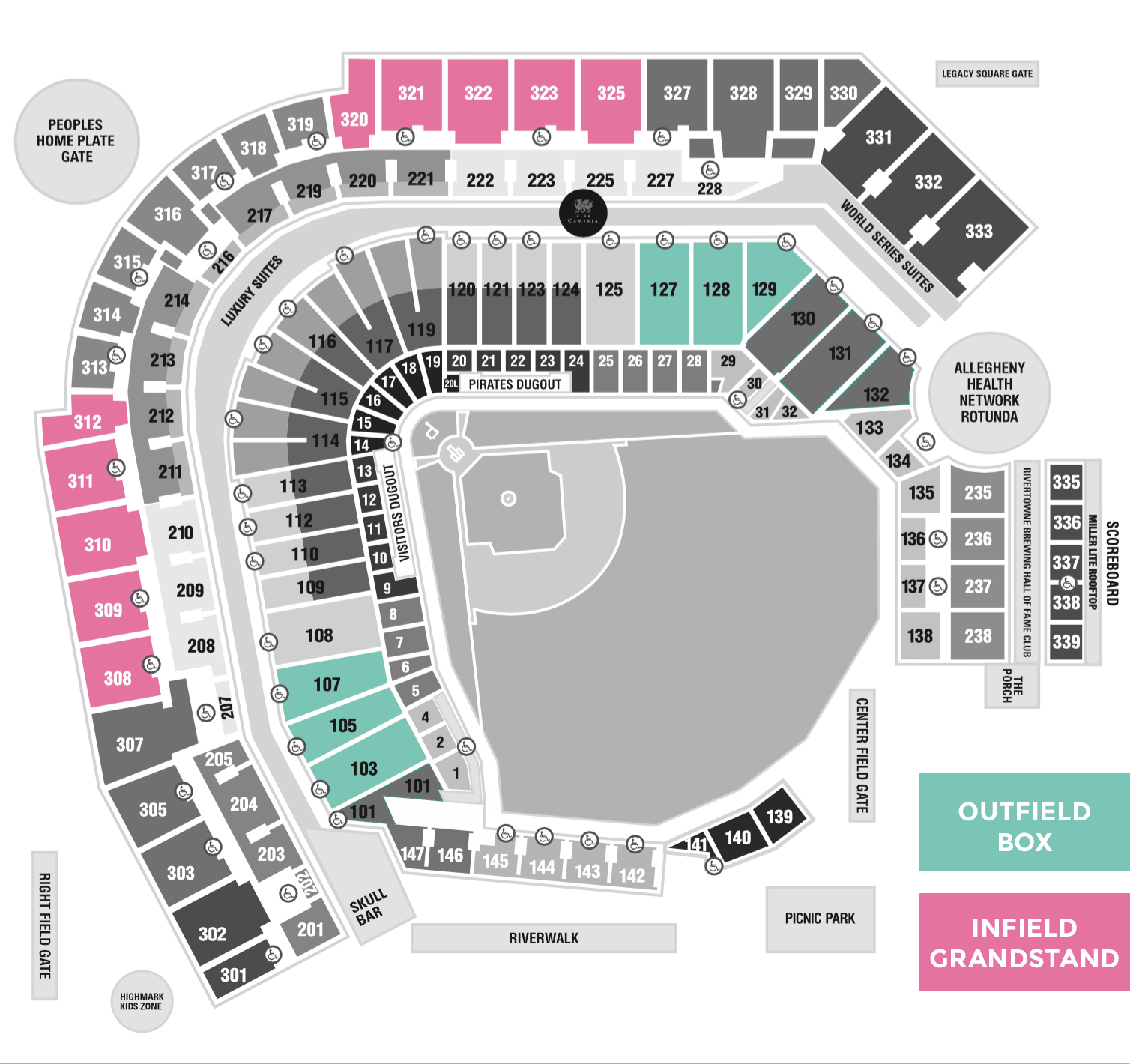Pittsburgh Pirates Printable Seating Chart Pnc Park Pittsburgh - Pnc park map seating
