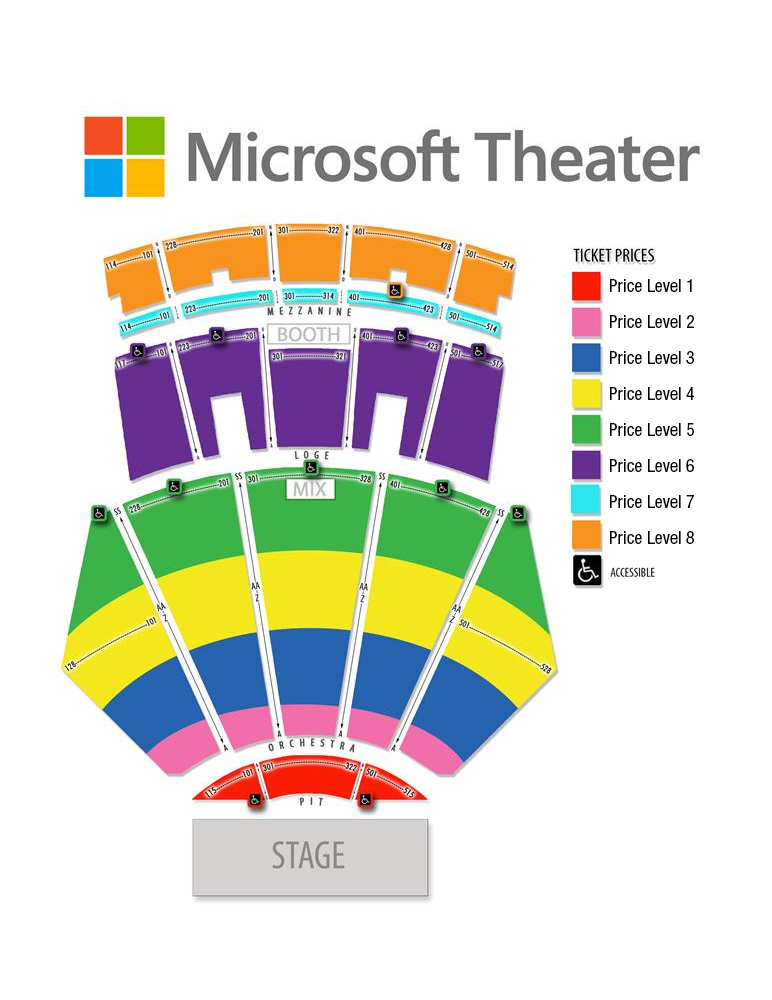 Microsoft Theater seating chart los angeles