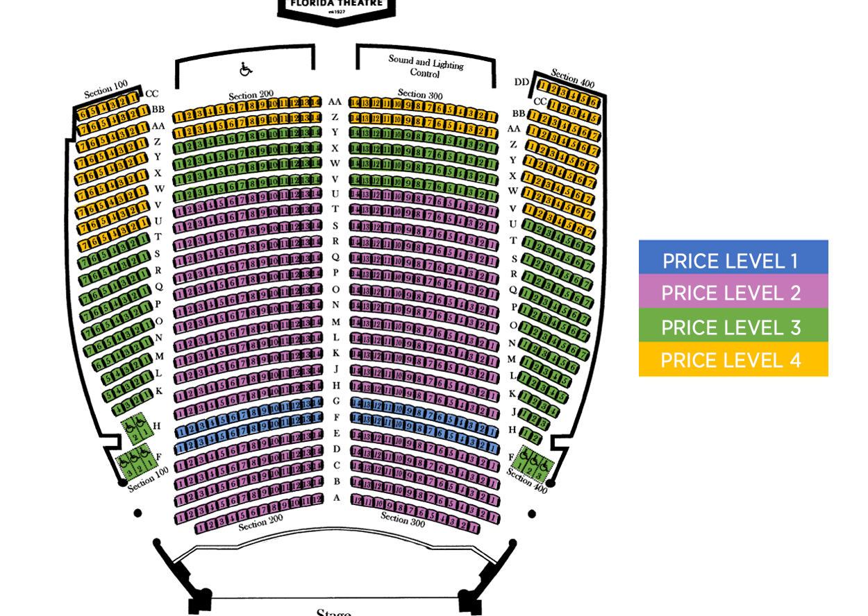 Florida Theatre Seating Chart Black Box Diagram Ucf Charts Jacksonville Tickets Schedule