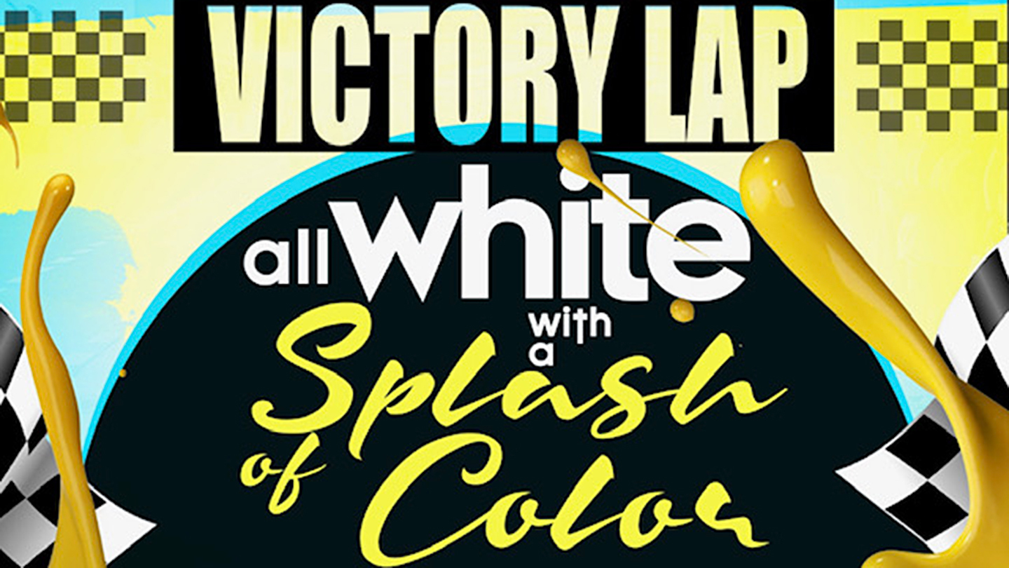 Victory Lap All White With A Splash of Color Rooftop Affair