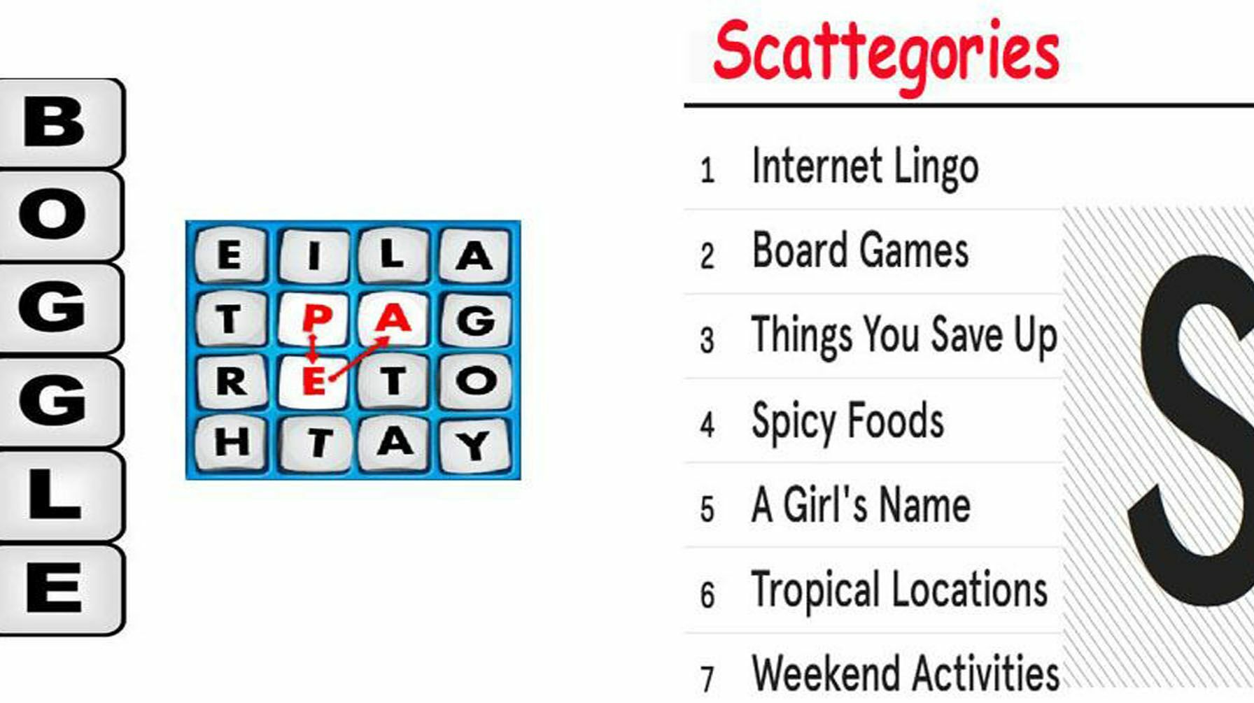 Scattegories and Boggle your mind virtual event