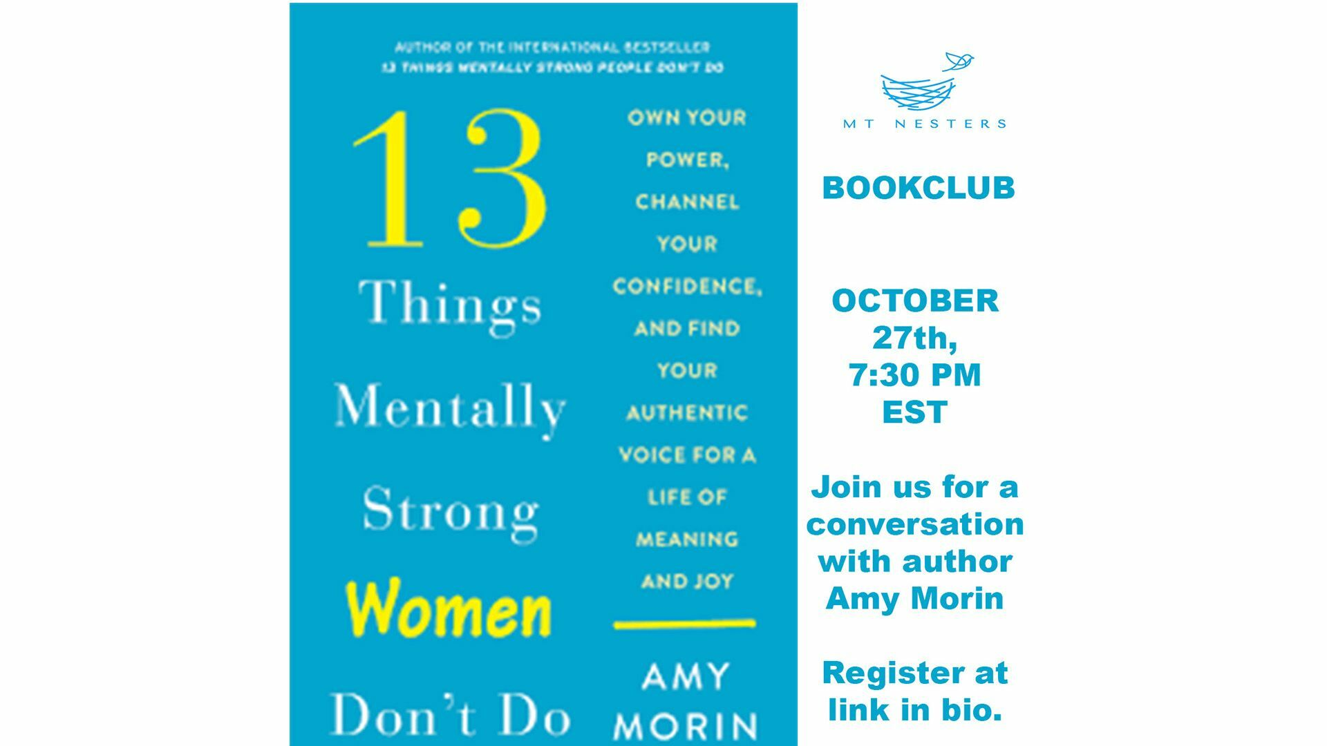 MT Nesters Book Club with Amy Morin -- Online