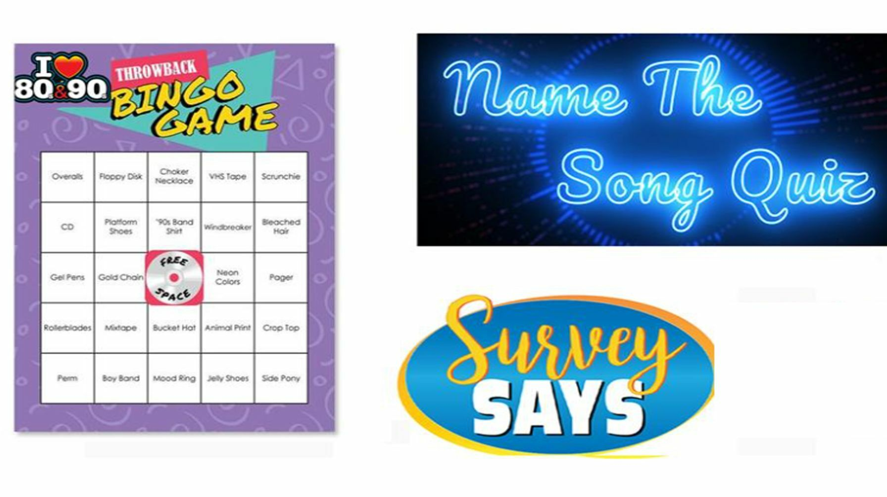 Ultimate 80/90s Game Night (Name that Song, Survey Says, Word Bingo) Online