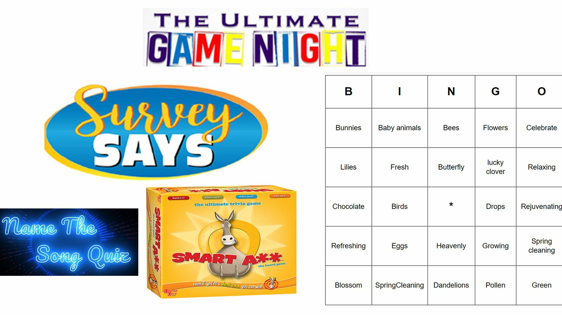 Ultimate Game Night (Virtual) - Bingo, Smart A**, Survey Says, Name the song