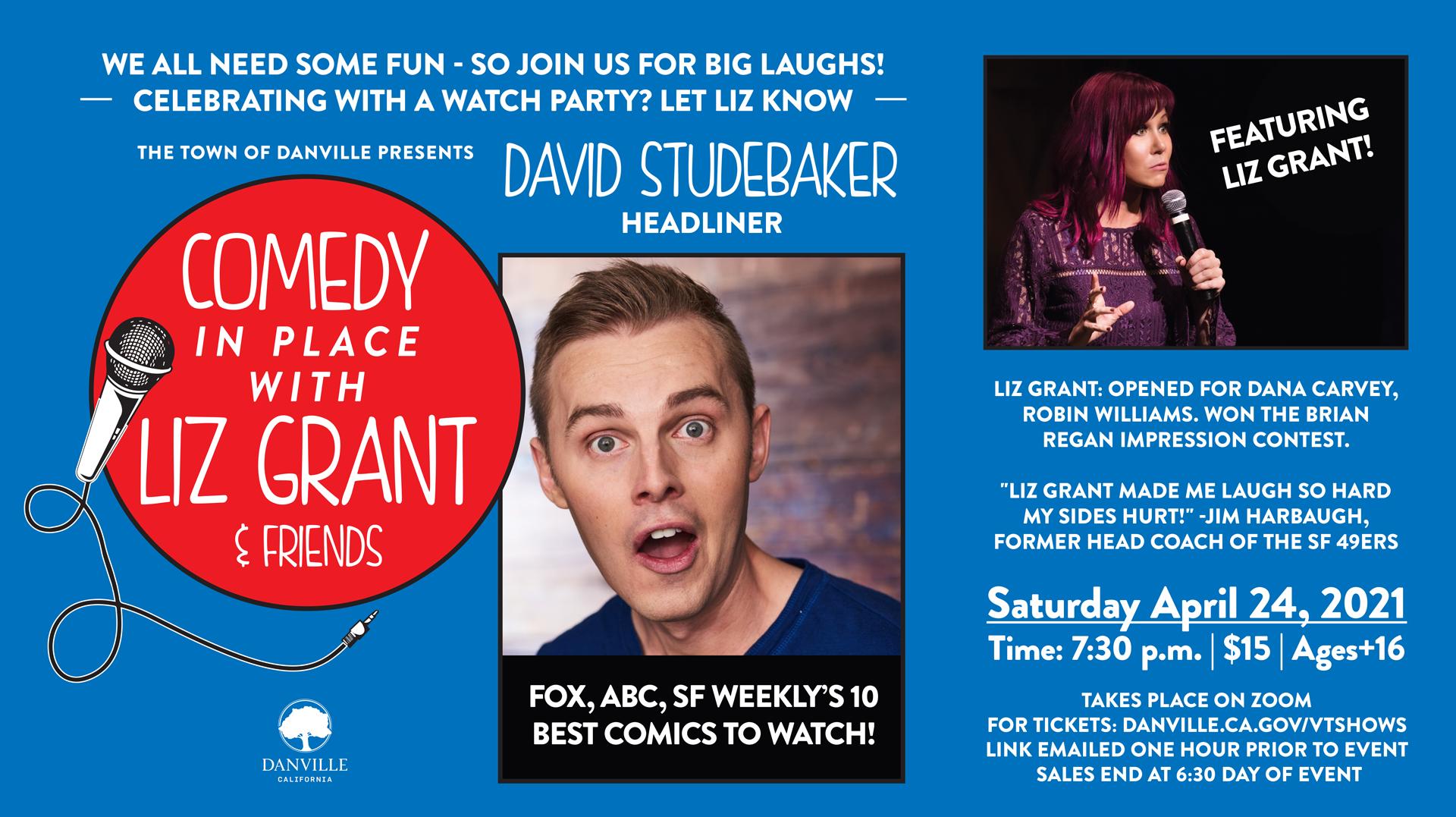 Comedy With Liz Grant & Friends, With Headliner David Studebaker -- Online