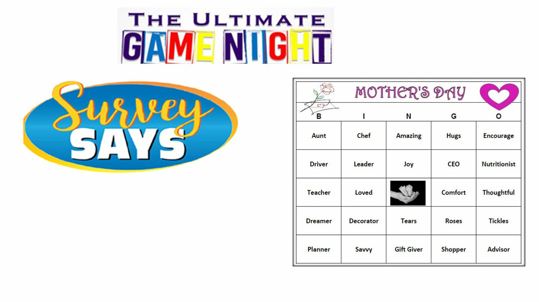 Mothers Day Virtual Word Bingo and Survey Says