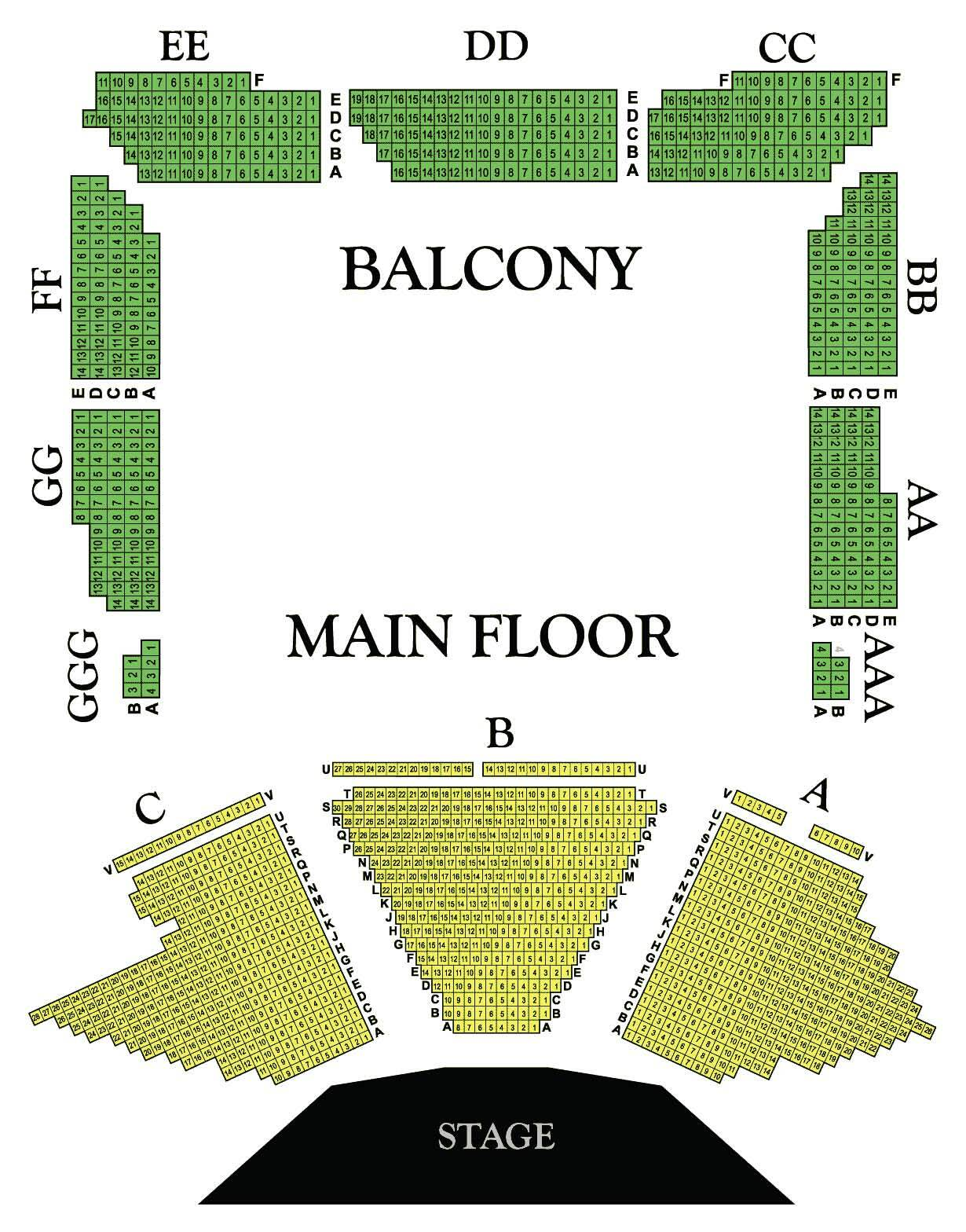 Wells Fargo Center for the Arts Seating Chart