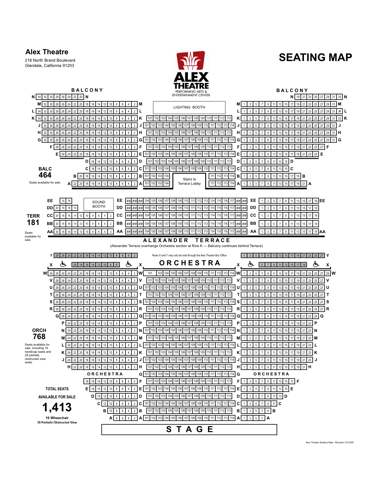 Alex Theater Seating Map