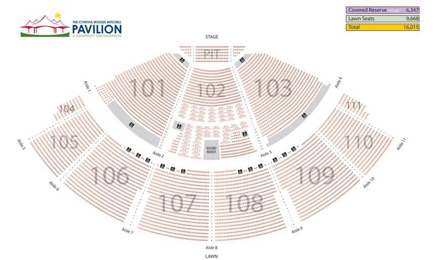 Cynthia woods mitchell pavilion houston tickets schedule seating