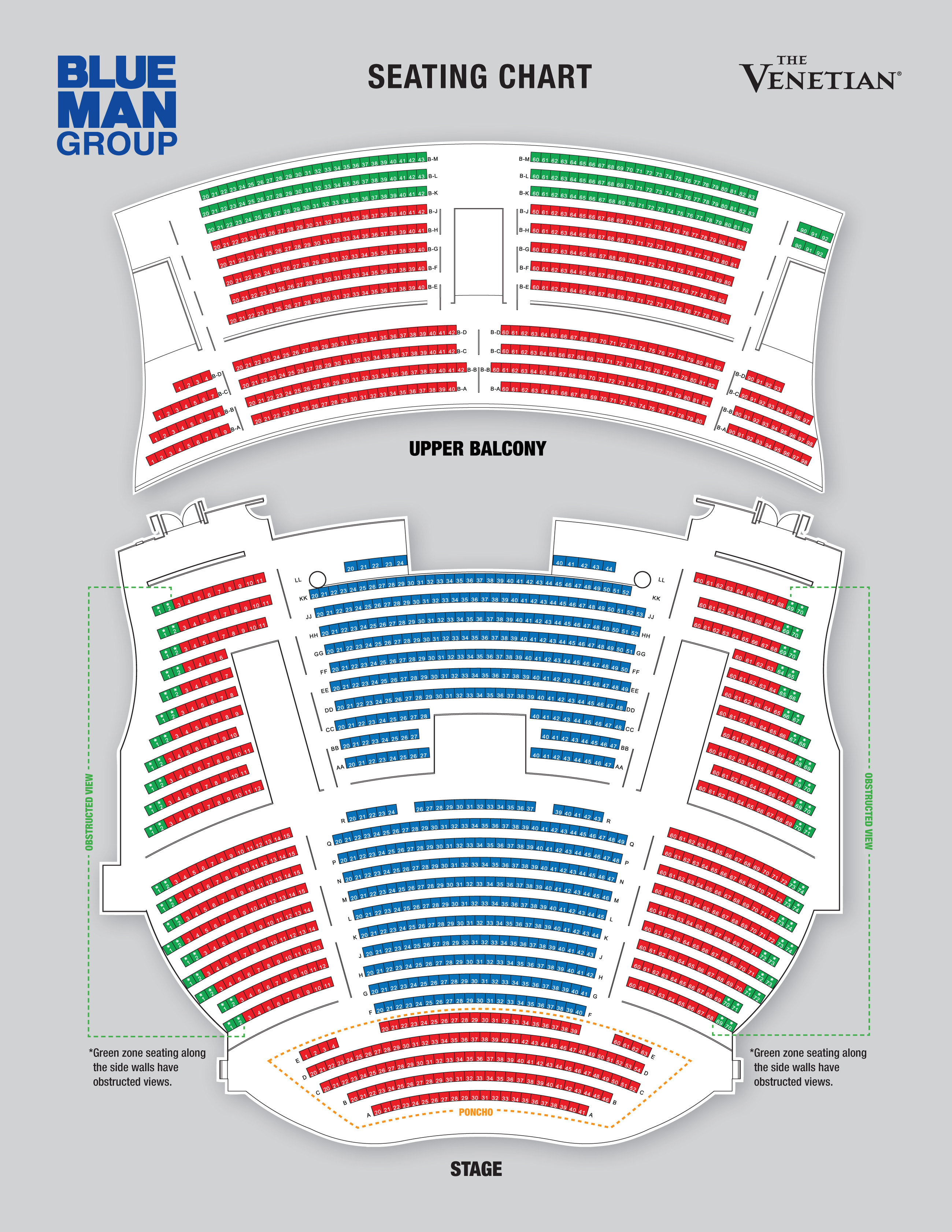 Blue man theatre las vegas tickets schedule seating charts
