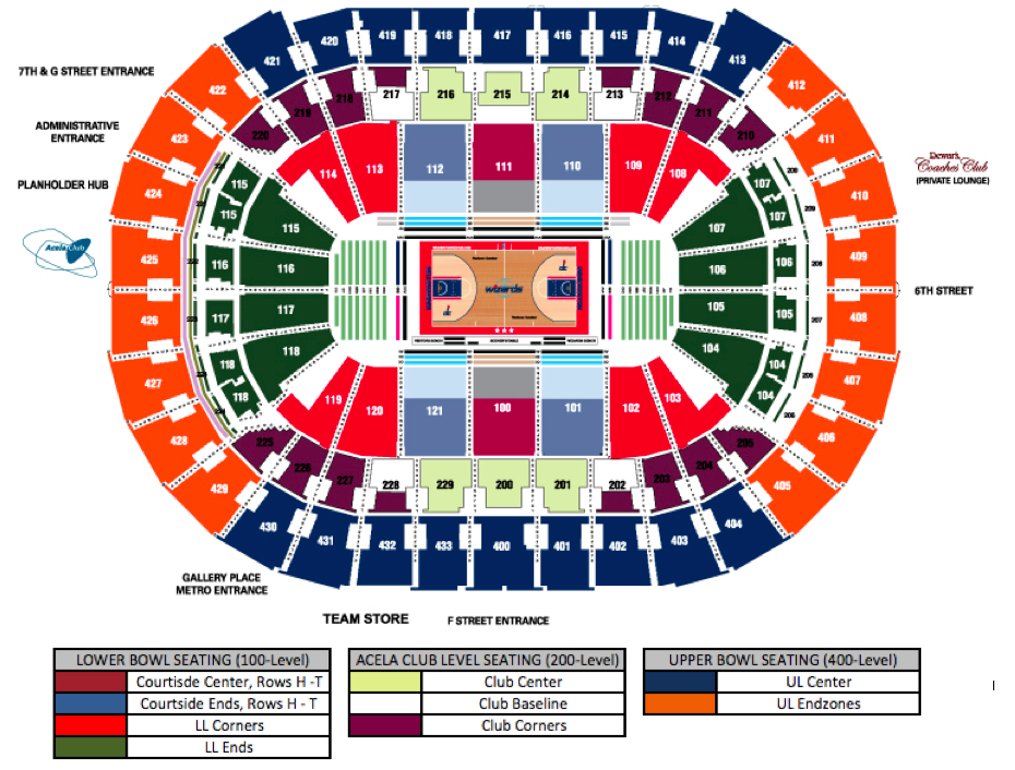 Capital One Arena Washington DC Tickets Schedule Seating - Verizon center seating map